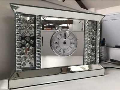 Mirrored Floating Crystal Art Deco Mantel Free standing Clock Mirror With Jewels