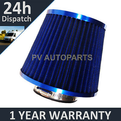 Blue Universal Polished Car Cotton Air Filter With Adaptors