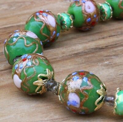 Vintage Necklace Green Glass Wedding Cake Beads 20s 30s Deco Costume Jewellery