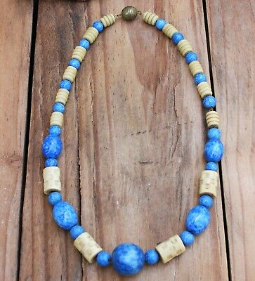 Vintage Necklace Blue Glass 30s Deco Costume Jewellery Beads Jewelry