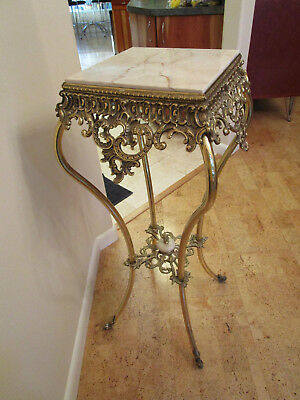 Antique Ornate  Victorian SOLID BRASS and MARBLE LAMP TABLE
