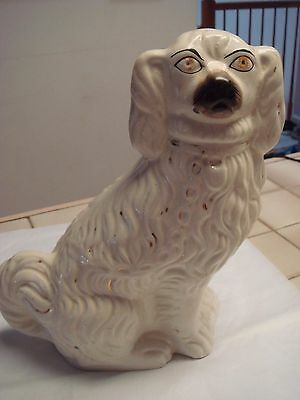 Victorian Staffordshire Pottery Antique White Gilt Spaniel  Wally Dog 11 inch
