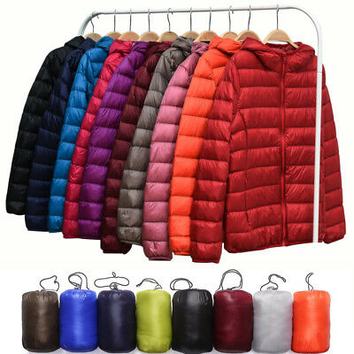 L-3XL Plus Womens Winter Packable Hoodie Down Jacket Hooded Puffer Outwear Coat