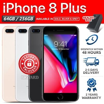 Factory Sealed & Unlocked APPLE iPhone 8 + Plus 64 256GB Grey Gold Silver Phone