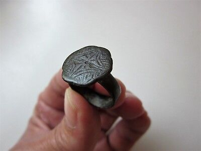 ancient medieval Crusader's huge solid bronze carved ring, XII - XIV A.D.