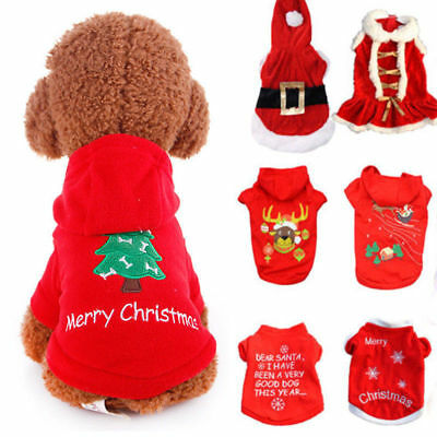 Pet Warm Dog Cat Red Jacket Coat Puppy Clothes Winter Sweater Christmas Apparel