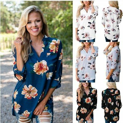 Ladies V-Neck Loose Long-Sleeved Floral Printed Casual Shirt Top Mid-sleeve