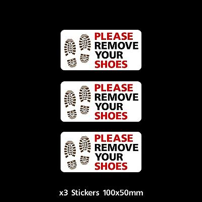 3x Please remove your shoes Sign / Sticker - Mosque, Swimming Pool, Home (CC028)