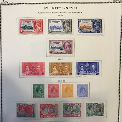 1935-1945 St. Kitts-Nevis Collection From A Scott Specialty Album! High Value!