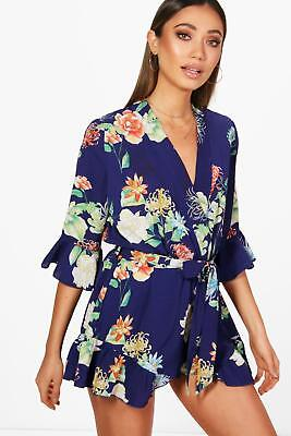 Boohoo Womens Floral Kimono Style Playsuit