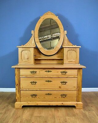 Victorian Antique Swedish Pine Three Drawer Dressing Chest with Matching Mirror