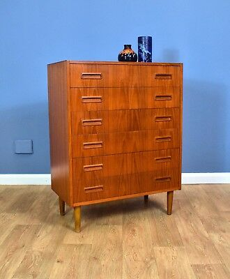 Mid Century Retro Vintage Danish Teak Tallboy Bedroom Chest of 6 Drawers 60s 70s