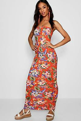 7767014d6ecb Boohoo Womens Tall Tropical Print Bandeau Jersey Maxi Dress in Coral size 10