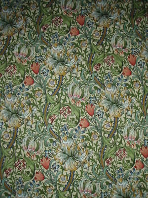 "WILLIAM MORRIS CURTAIN FABRIC ""Golden Lily Minor"" 160 CM X 128 CM GREEN/GOLD"