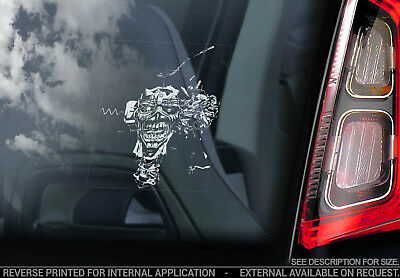Iron Maiden 'eddie'- Car Window Sticker - Can I Play With Madness Eddie Head V11