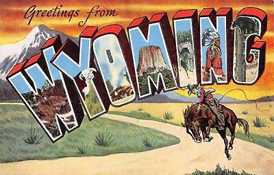 B8907 Greetings from Wyoming Cowboy Bronco WY Large Letter Linen PC Kropp #24032