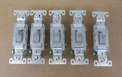 Lot Of 5 New Cooper Wiring Cs120Gy Toggle Switch 20A 20 Amp 120/277V 1Pole Gray