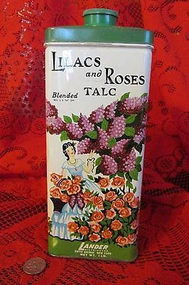 Collectible Vintage Lander LILACS and ROSES Blended TALC Powder Tin, large