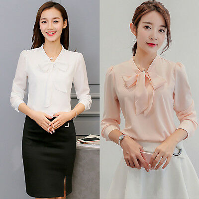 US Women Lace-up Long Sleeve Chiffon Pure Color V-Neck OL Tie Shirt Top Blouse