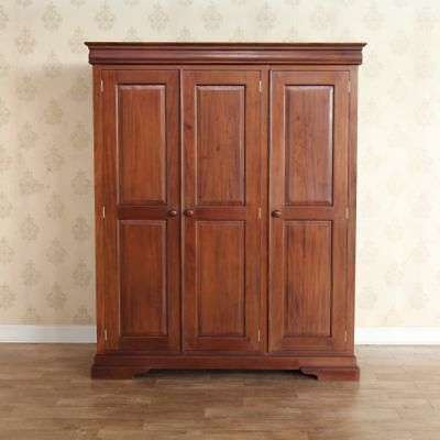 Triple Solid Mahogany Wood Wardrobe 3 Door Repro Antique Wax Finish H195 xW160cm