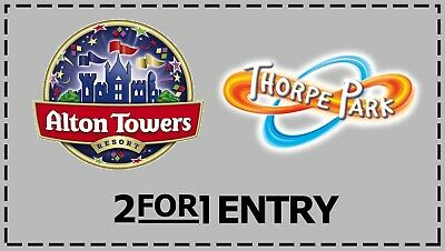 Alton Towers or Thorpe Park - 2 for 1 Voucher Code - Book Online