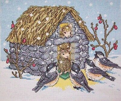 "Finished unframed Counted Cross Stitch Winter Friends 12"" x10"""
