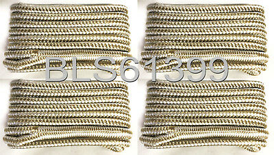 """(4) White Gold Boat Dock Lines 1/2"""" Double Braid Marine Rope 2 Each 15' & 25' ft"""
