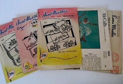 Vintage McCall's Aunt Martha's Hot Iron Transfers Hand Embroidery Patterns Lot 5