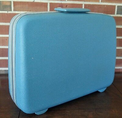Vintage Samsonite Silhouette Blue Teal Medium Suitcase Luggage