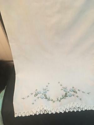 Vintage Single Hand Embroidered  Pillow Case ~ Blue/Lavender Flowers