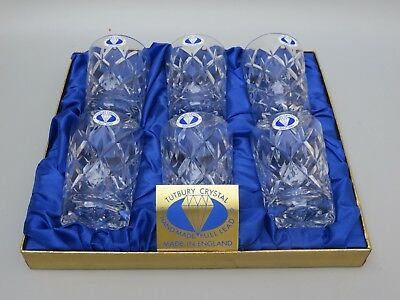 "Tutbury Crystal Cut Glass Flat Tumblers Set Of 6 - 3 1/2"" Tall- Original Box"