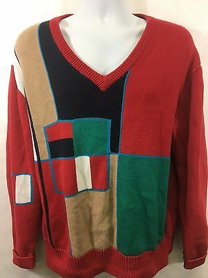 c1cdbfcb2524b6 Vintage 1980s Izod Club V-Neck Sweater Bright Multi Color Men's L Knit  Cotton