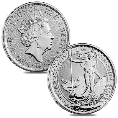 Lot of 2 - 2019 Great Britain 1 oz Silver Britannia Coin .999 Fine BU