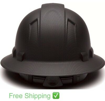 Full Brim Hard Hat 4 Pt Ratchet Suspension Safety Helmet Carbon Fiber Look Matte