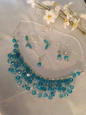Lake Blue Sterling Silver WAVE Chain&crystal Necklace/Earings&bracelet.