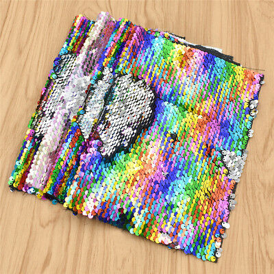 A4 Rainbow Reversible Mermaid Sequins Fabric Applique Sewing Material DIY Craft