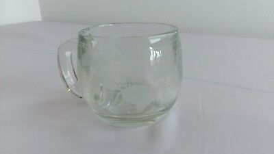 Nestle Nescafe Glass World Clear Etched Glass Mug Coffee Cup vintage Collectible