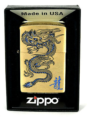 Zippo Lighter Blue Dragon High Polish Gold Custom Limited Quantity Made In Usa