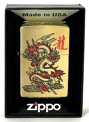 Zippo Lighter Red Dragon High Polish Gold Custom Limited Quantity Made In Usa
