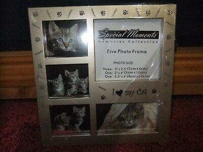 I Love My Cat Picture Frame Silver Tone 3 Opening Collage Easel