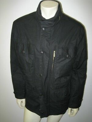 BARBOUR Black SAPPER Waxed Jacket Size LARGE