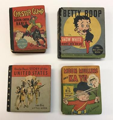 1930s Lot 4 THE BIG LITTLE BOOK Whitman Uncle Ray Betty Boop Chester Gump Books