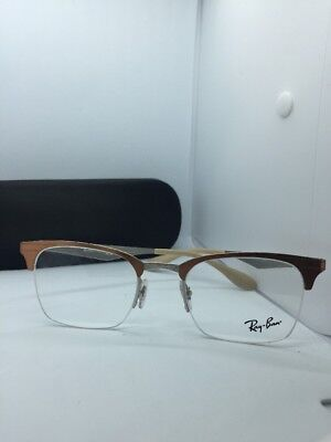 5b0abfde97 New Authentic Ray Ban Eyeglasses Rb 6360 2920 Brushed Brown Silver 49-20-140