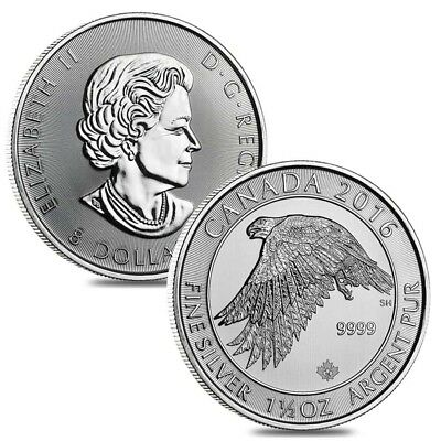 Lot of 2 - 2016 1.5 oz Canadian Silver White Falcon $8 Coin .9999 Fine BU