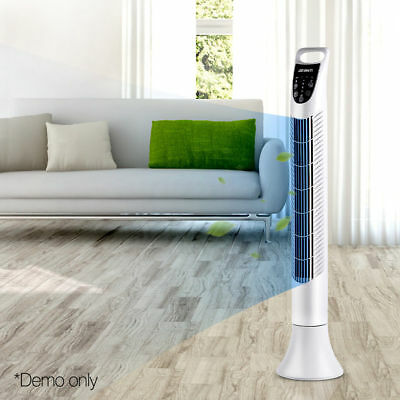 Portable Cross Flow Tower Fan Remote Control Touch Panel 3 Mode Timer White 93cm