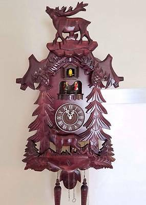 German Black Forest Handcrafted Cuckoo Clock-Deer with Dancing Stage
