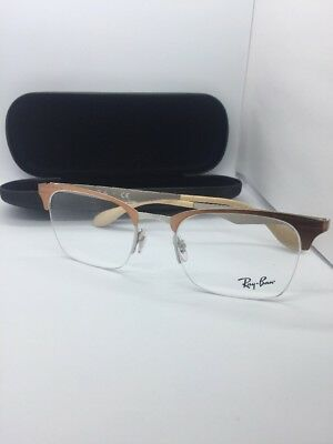 84f37b3f3f New Authentic Ray Ban Eyeglasses Rb 6360 2920 Brushed Brown Silver 51-20-140