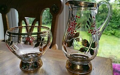 "Vintage 1950s Glass Milk Jug and Sugar bowl ""Stunning"""
