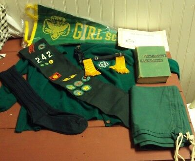 1960's Collection Of Girl Scout Uniform, Sash, Pennant, Handbook, Certificates