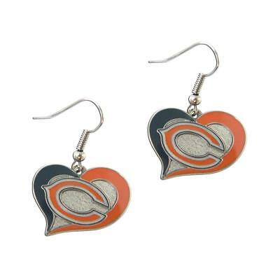 Chicago Bears swirl heart earrings dangle charm FAST USA SHIPPING